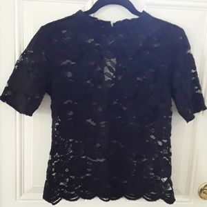 Black lace see through top